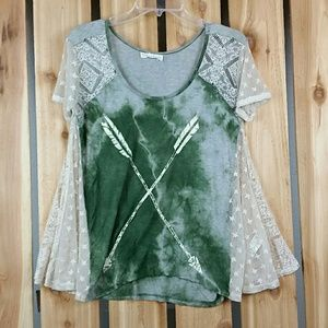 Anthropologie Scrapbook Double Arrow Lace Top
